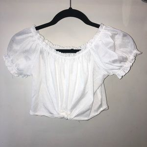 Off the shoulder white cropped blouse